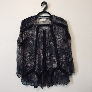 4 Love And Liberty Floral Sheer Lace Silk Blouse